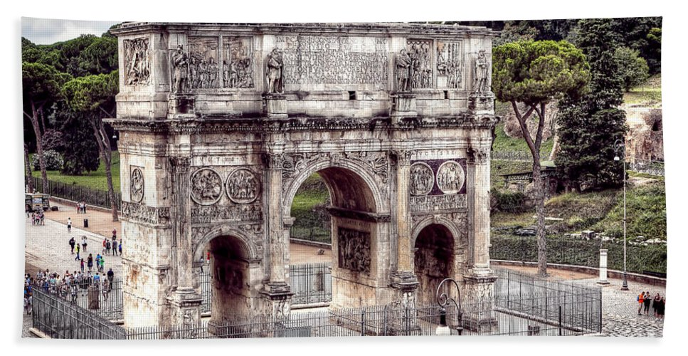 Arch Bath Sheet featuring the photograph 0793 Arch Of Constantine by Steve Sturgill