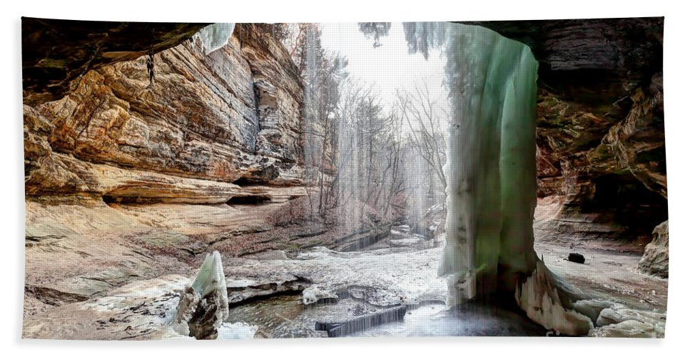 Lasalle Hand Towel featuring the photograph 0938 Lasalle Falls - Starved Rock State Park by Steve Sturgill