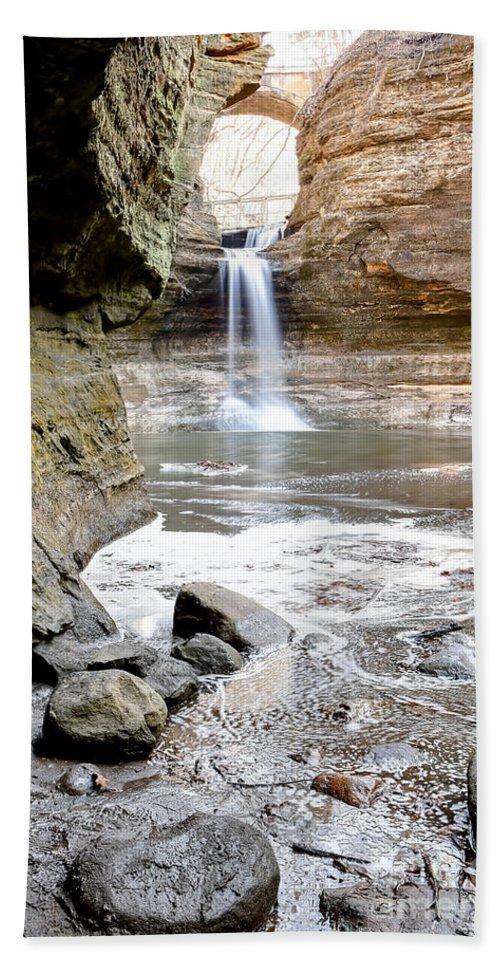 Cascade Hand Towel featuring the photograph 0941 Cascade Falls - Matthiessen State Park by Steve Sturgill
