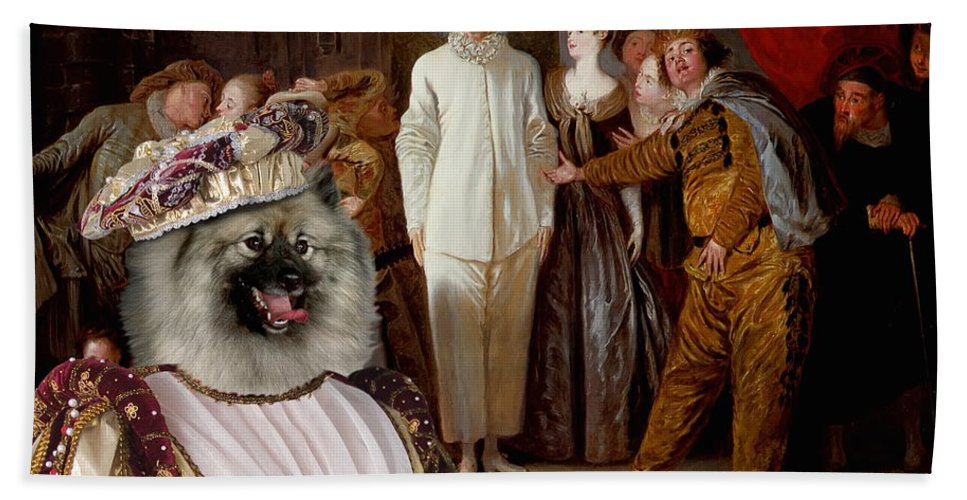 Keeshond Hand Towel featuring the painting Keeshond Art Canvas Print by Sandra Sij
