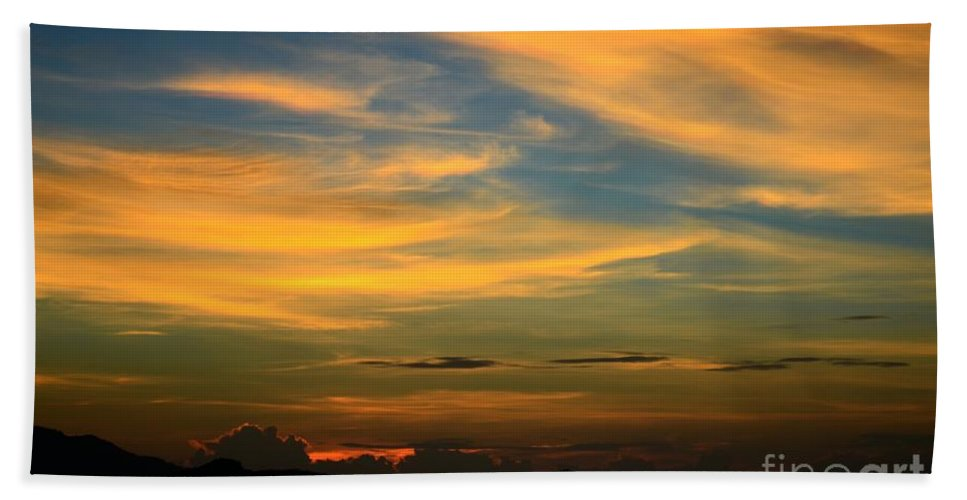 Michelle Meenawong Bath Sheet featuring the photograph Sunset by Michelle Meenawong