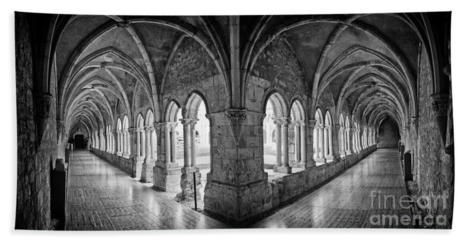 Gothic Bath Sheet featuring the photograph 13th Century Gothic Cloister by Jose Elias - Sofia Pereira