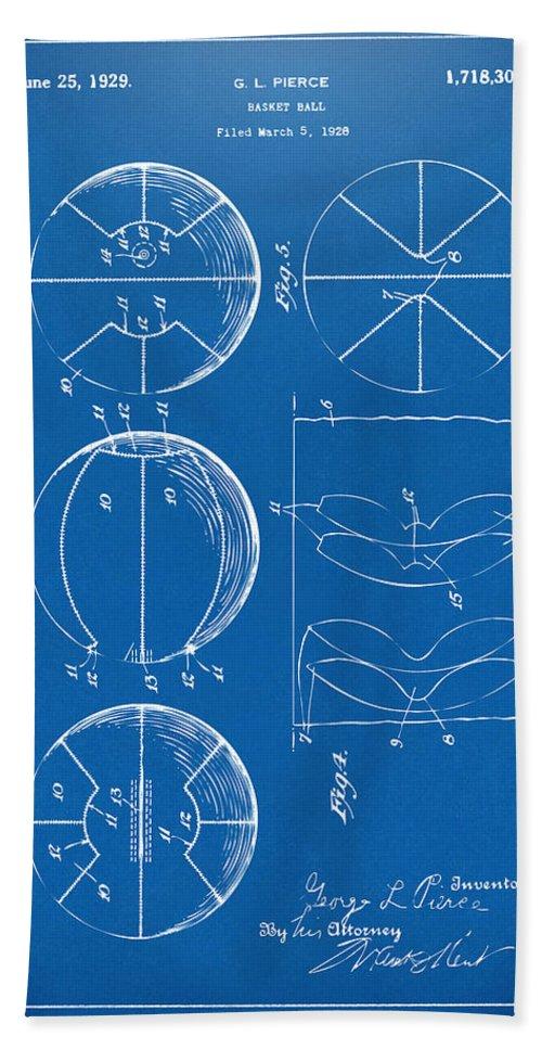 Basketball Hand Towel featuring the digital art 1929 Basketball Patent Artwork - Blueprint by Nikki Marie Smith
