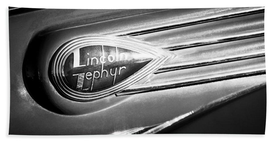 1938 Lincoln Zephyr Emblem Bath Sheet featuring the photograph 1938 Lincoln Zephyr Emblem by Jill Reger