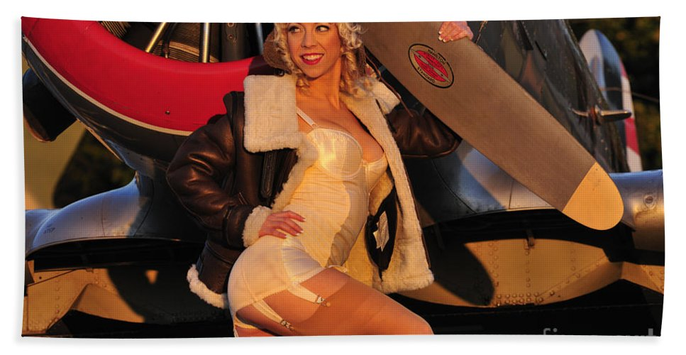 Aviator Hand Towel featuring the photograph 1940s Style Aviator Pin-up Girl Posing by Christian Kieffer