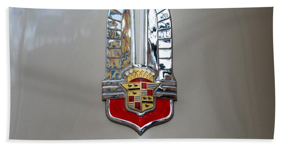Cadillac Hand Towel featuring the photograph 1941 Cadillac Emblem by David Lee Thompson