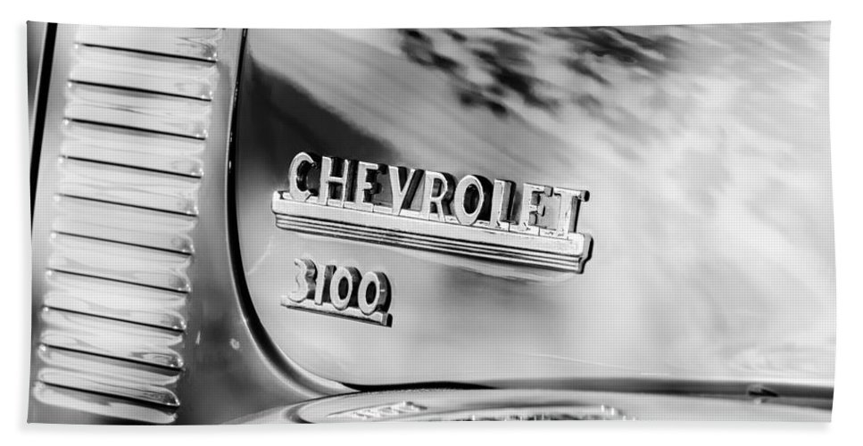 1949 Chevrolet 3100 Pickup Truck Emblem Bath Sheet featuring the photograph 1949 Chevrolet 3100 Pickup Truck Emblem by Jill Reger