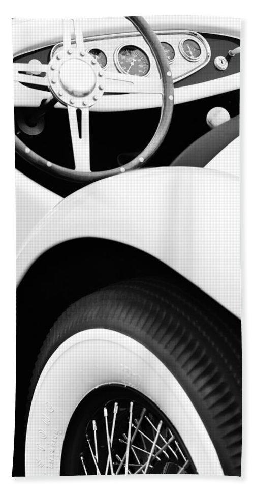 1950 Eddie Rochester Anderson Emil Diedt Roadster Steering Wheel Bath Sheet featuring the photograph 1950 Eddie Rochester Anderson Emil Diedt Roadster Steering Wheel by Jill Reger