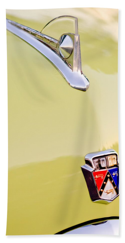 1950 Ford Hood Ornament Bath Sheet featuring the photograph 1950 Ford Hood Ornament - Emblem by Jill Reger
