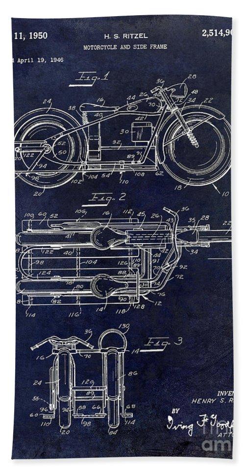 Harley Davidson Patent Drawing Bath Sheet featuring the photograph 1950 Motorcycle Patent Drawing Blue by Jon Neidert