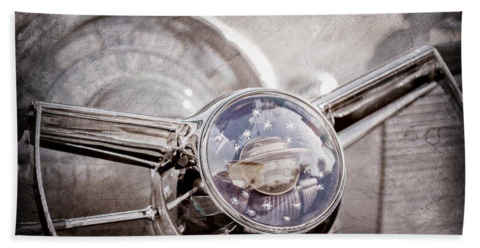 1950 Oldsmobile Rocket 88 Steering Wheel Emblem Bath Sheet featuring the photograph 1950 Oldsmobile Rocket 88 Steering Wheel Emblem by Jill Reger