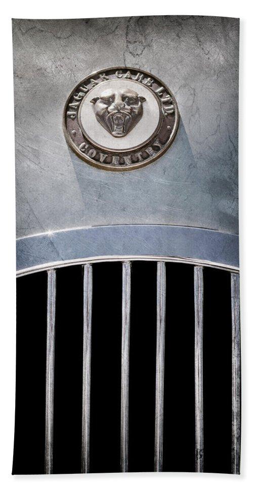 1952 Jaguar Xk120 Roadster Emblem Bath Sheet featuring the photograph 1952 Jaguar Xk120 Roadster Emblem by Jill Reger