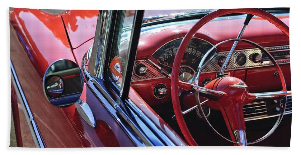 1955 Chevrolet Belair Bath Sheet featuring the photograph 1955 Chevrolet Belair Steering Wheel by Jill Reger