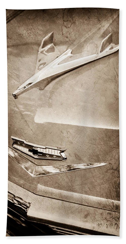 1956 Chevrolet Hood Ornament Hand Towel featuring the photograph 1956 Chevrolet Hood Ornament by Jill Reger