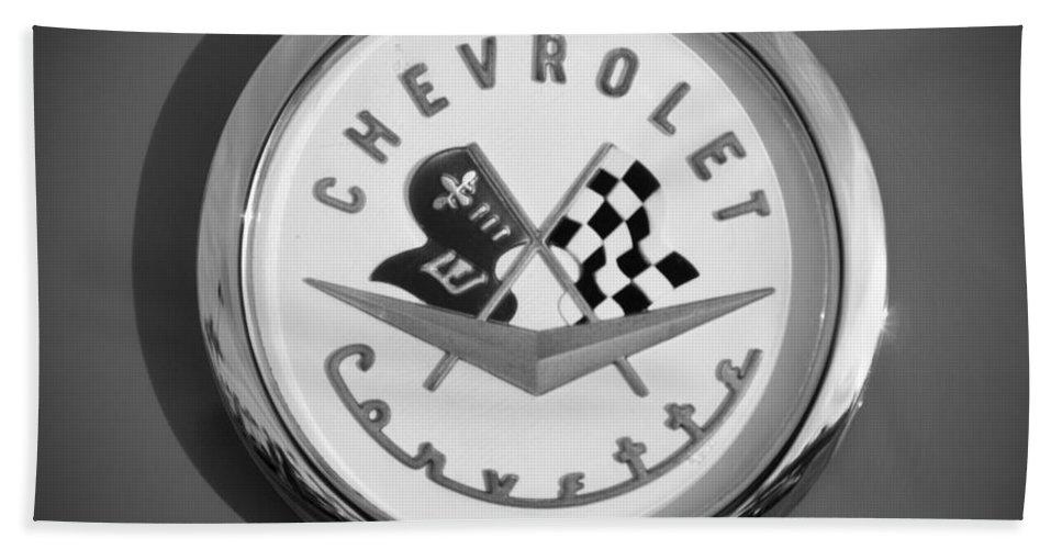 1957 Chevrolet Corvette Emblem Bath Sheet featuring the photograph 1957 Chevrolet Corvette Emblem by Jill Reger