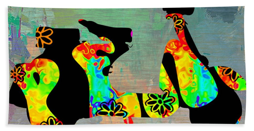 Vespa Digital Art Hand Towel featuring the mixed media 1960s Peace Scooter by Marvin Blaine