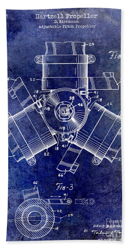 1961 Propeller Patent Drawing Bath Sheet featuring the photograph 1961 Propeller Patent Drawing by Jon Neidert