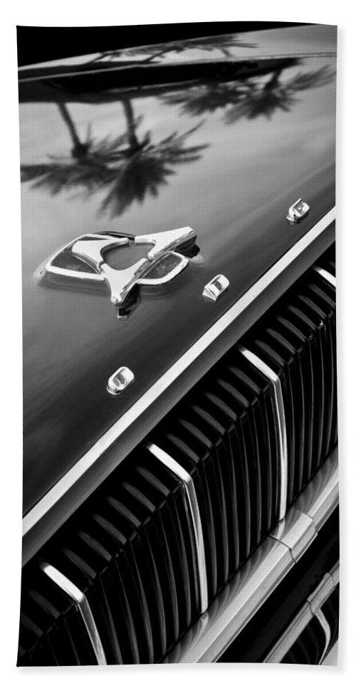1962 Dodge Polara 500 Grille - Hood Emblem Bath Sheet featuring the photograph 1962 Dodge Polara 500 Grille - Hood Emblem by Jill Reger