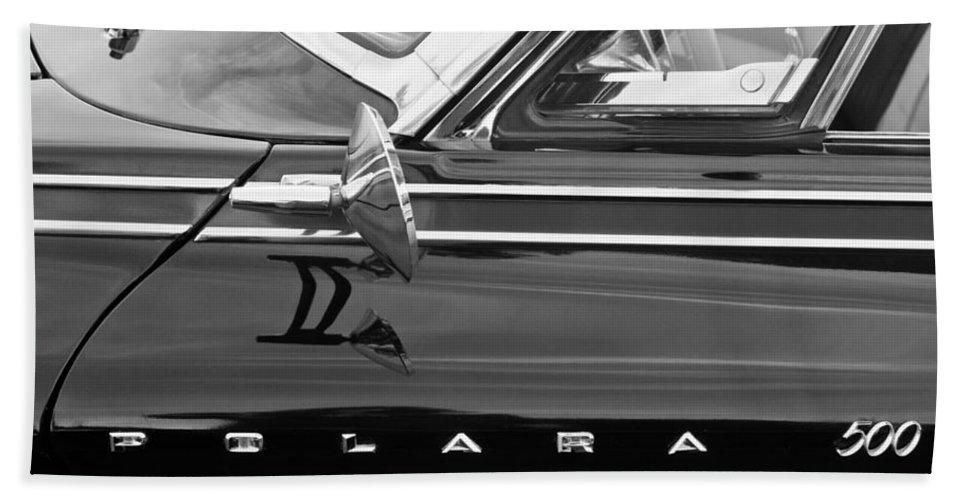 1962 Dodge Polara 500 Side Emblem Bath Sheet featuring the photograph 1962 Dodge Polara 500 Side Emblem by Jill Reger
