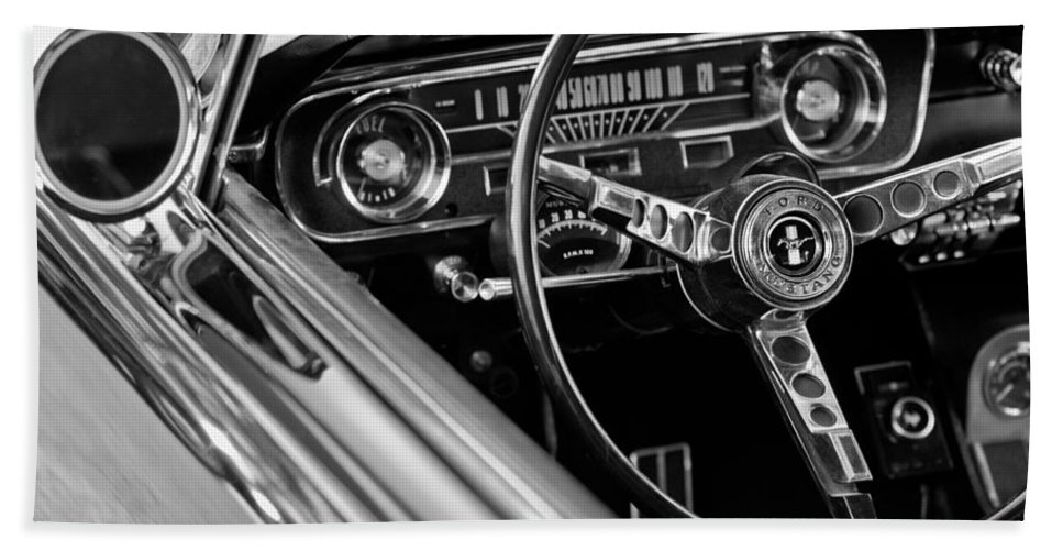 1965 Shelby Prototype Ford Mustang Steering Wheel Bath Towel featuring the photograph 1965 Shelby Prototype Ford Mustang Steering Wheel by Jill Reger