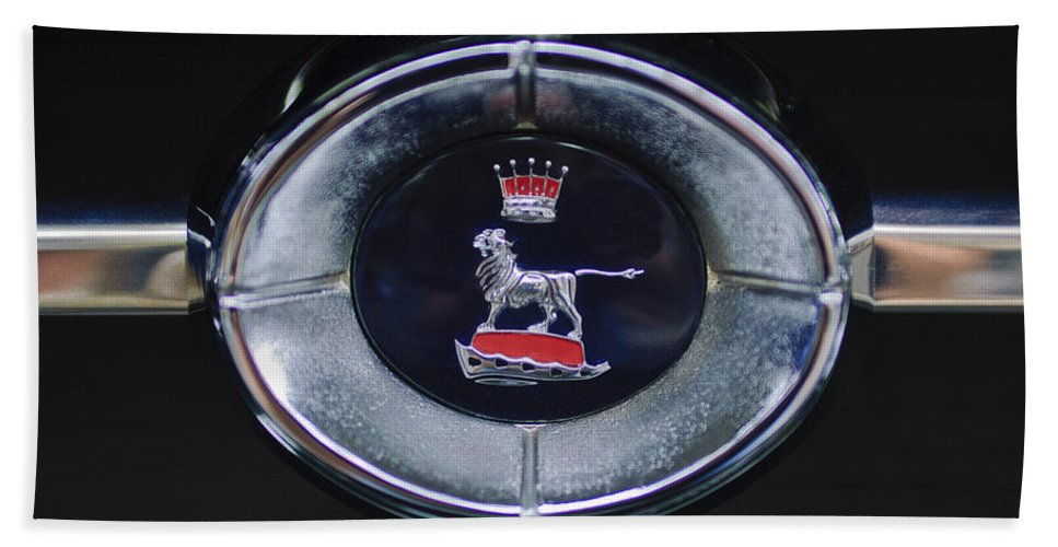 1965 Sunbeam Tiger Bath Sheet featuring the photograph 1965 Sunbeam Tiger Grille Emblem by Jill Reger