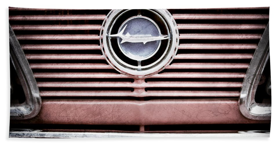 1966 Plymouth Barracuda - Cuda - Emblem Hand Towel featuring the photograph 1966 Plymouth Barracuda - Cuda - Emblem by Jill Reger