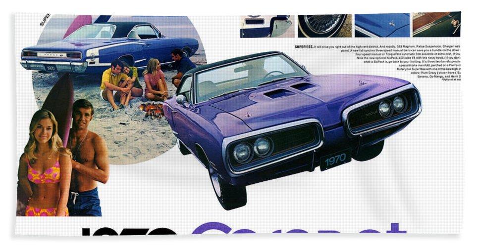 1970 Hand Towel featuring the digital art 1970 Dodge Coronet Super Bee by Digital Repro Depot