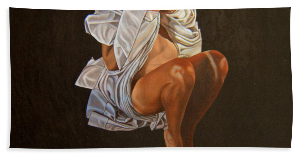 Semi-nude Bath Sheet featuring the painting 1 30 Am by Thu Nguyen