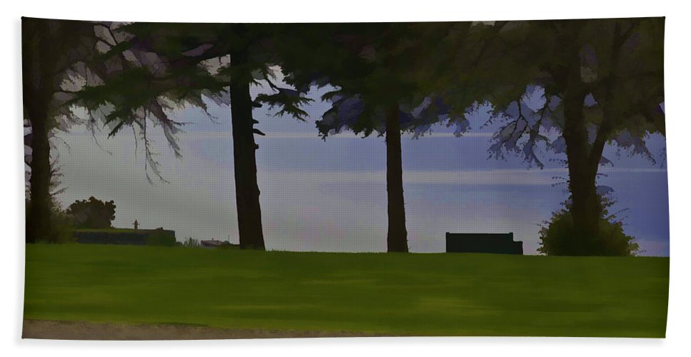 Bench Hand Towel featuring the digital art A Bench And Path On The Shore Of Loch Ness In Scotland by Ashish Agarwal