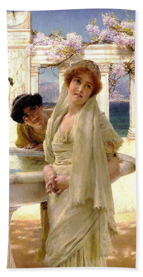 A Difference Of Opinion Bath Sheet featuring the digital art A Difference Of Opinion by Sir Lawrence Alma Tadema