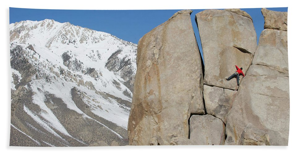 20-24 Years Hand Towel featuring the photograph A Man Sport Climbs In Bishop by Corey Rich