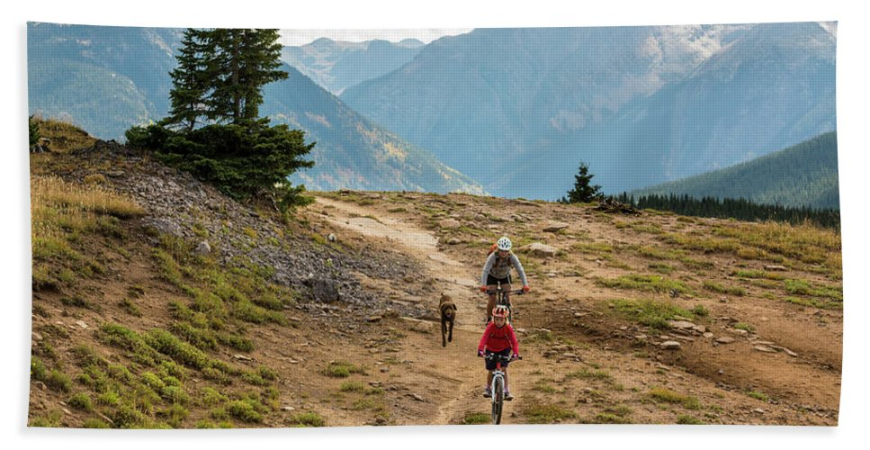 11-12 Years Bath Sheet featuring the photograph A Mother And Daughter Mountain Biking by Kennan Harvey