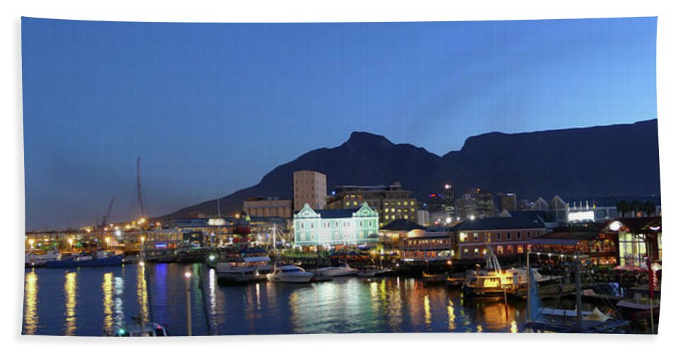 African Hand Towel featuring the photograph A Night View Of The Victoria And Alfred by Jonathan Kingston