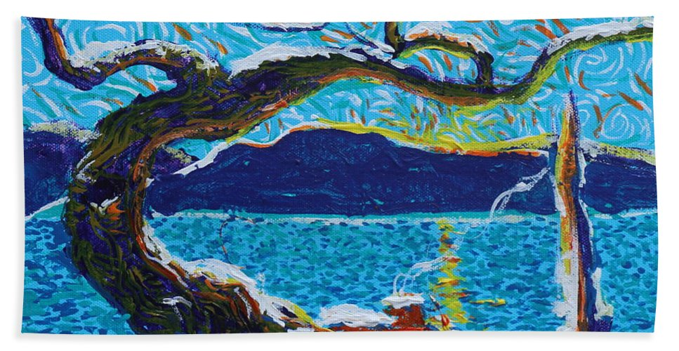 Landscape Hand Towel featuring the painting A River's Snow by Stefan Duncan