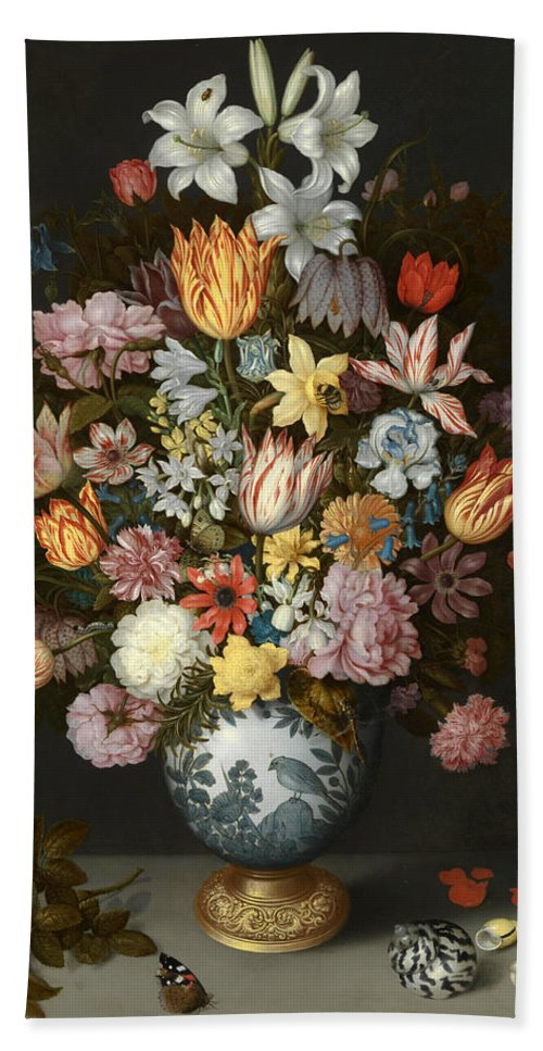 Ambrosius Bosschaert The Elder Hand Towel featuring the painting A Still Life Of Flowers In A Wan Li Vase by Ambrosius Bosschaert the Elder