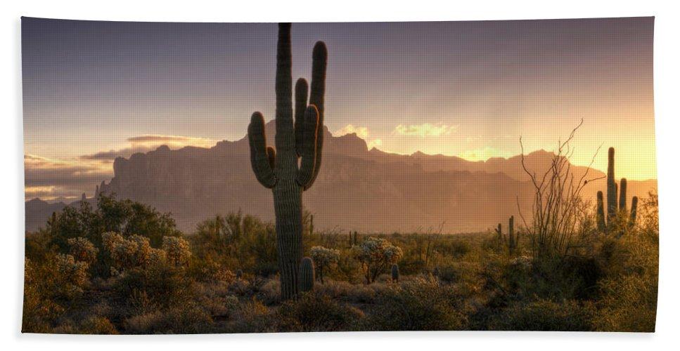 Sunrise Bath Towel featuring the photograph A Superstition Sunrise  by Saija Lehtonen