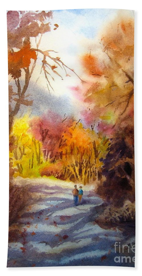 Fall Hand Towel featuring the painting A Walk In The Fall by Mohamed Hirji