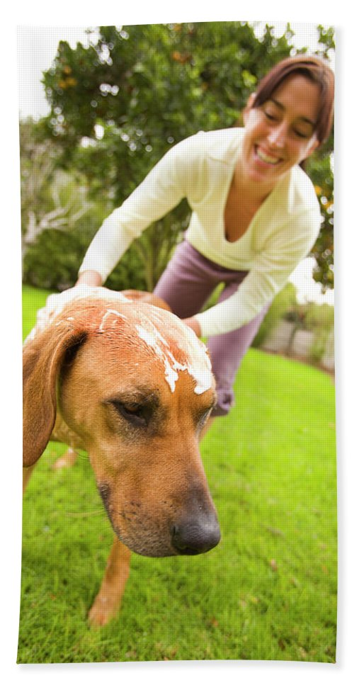 Adult Hand Towel featuring the photograph A Woman Gives Her Rhodesian Ridgeback by Ty Milford