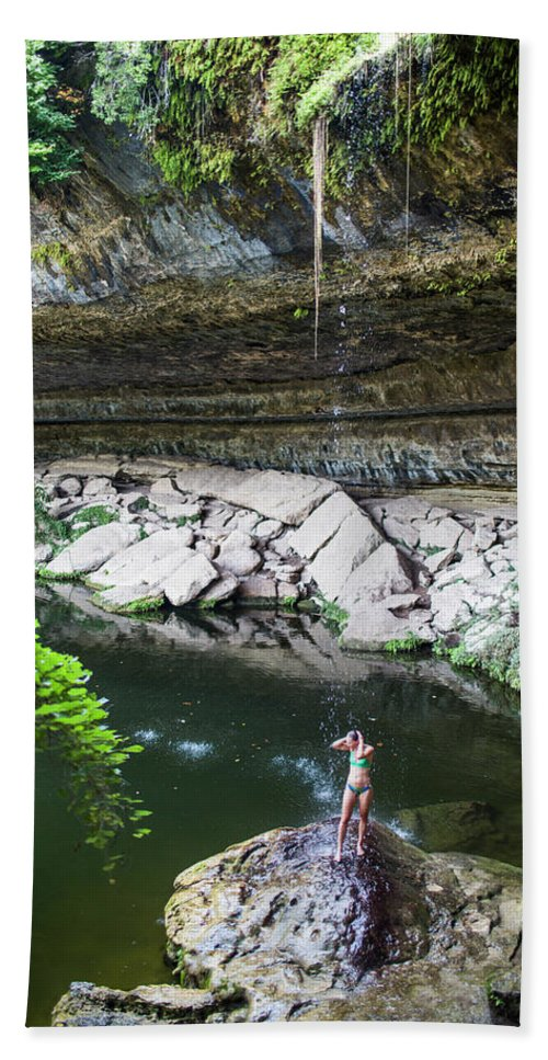 High Angle View Hand Towel featuring the photograph A Young Woman Enjoys The Hamilton Pool by Michael Hanson
