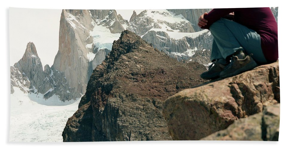 30-34 Years Hand Towel featuring the photograph A Young Woman Gazes At Cerro Fitzroy by Kari Medig
