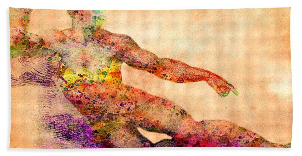Michelangelo Bath Sheet featuring the photograph Adam by Mark Ashkenazi
