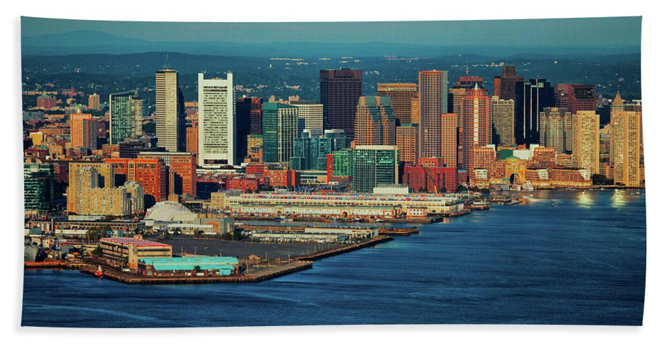 Photography Bath Sheet featuring the photograph Aerial Morning View Of Boston Skyline by Panoramic Images