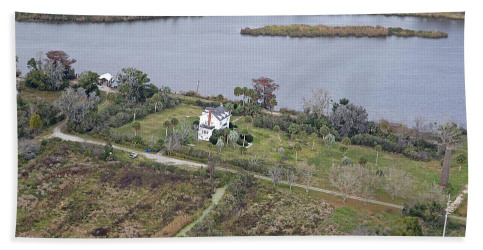 Aerial Hand Towel featuring the photograph Aerial Near Jekyll Island by Betsy Knapp