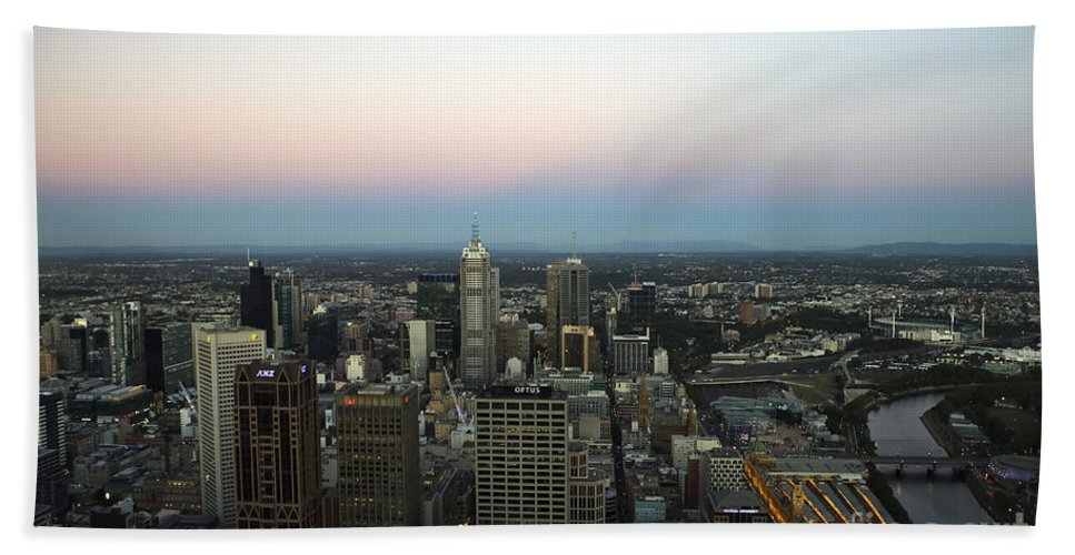 Travel Hand Towel featuring the photograph Aerial View Of Melbourne by Jason O Watson