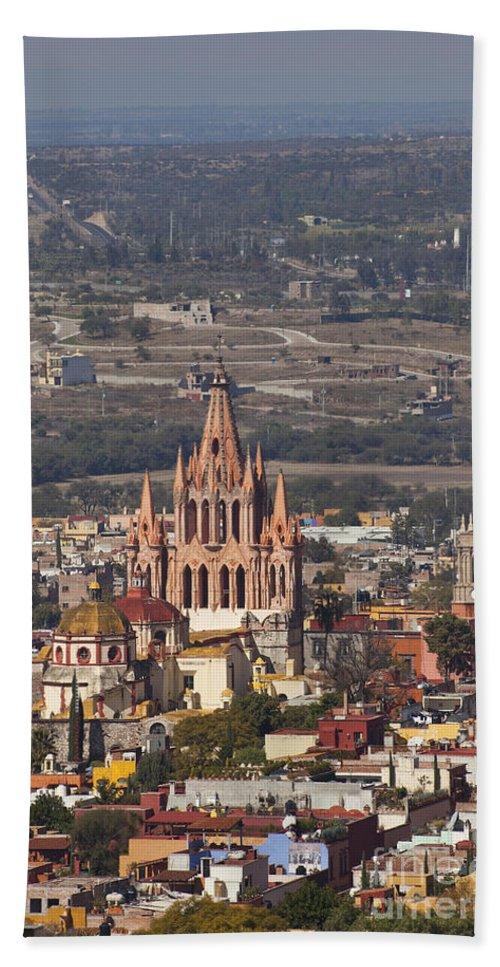 San Miguel De Allende Hand Towel featuring the photograph Aerial View Of San Miguel De Allende by Ellen Thane