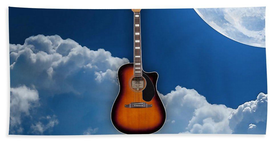 Fender Digital Art Bath Sheet featuring the mixed media Air Guitar by Marvin Blaine