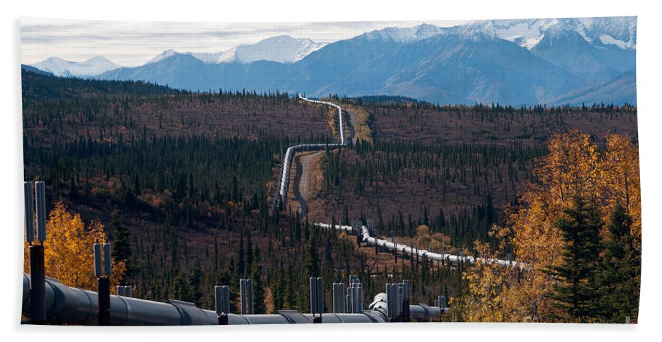 Nature Hand Towel featuring the photograph Alaska Oil Pipeline by Mark Newman