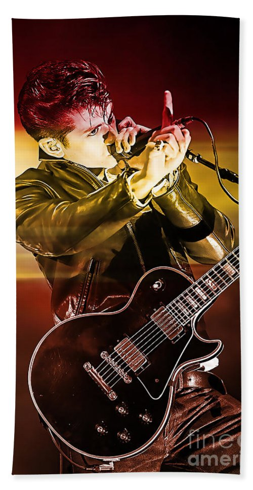Arctic Monkeys Photographs Hand Towel featuring the mixed media Alex Turner by Marvin Blaine