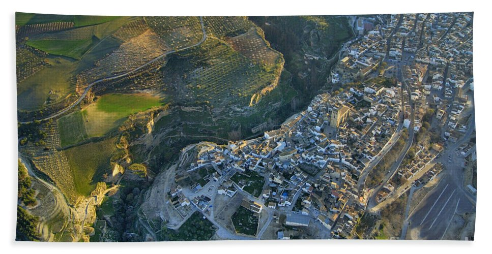 Architecture Bath Sheet featuring the photograph Alhama De Granada From The Air by Guido Montanes Castillo