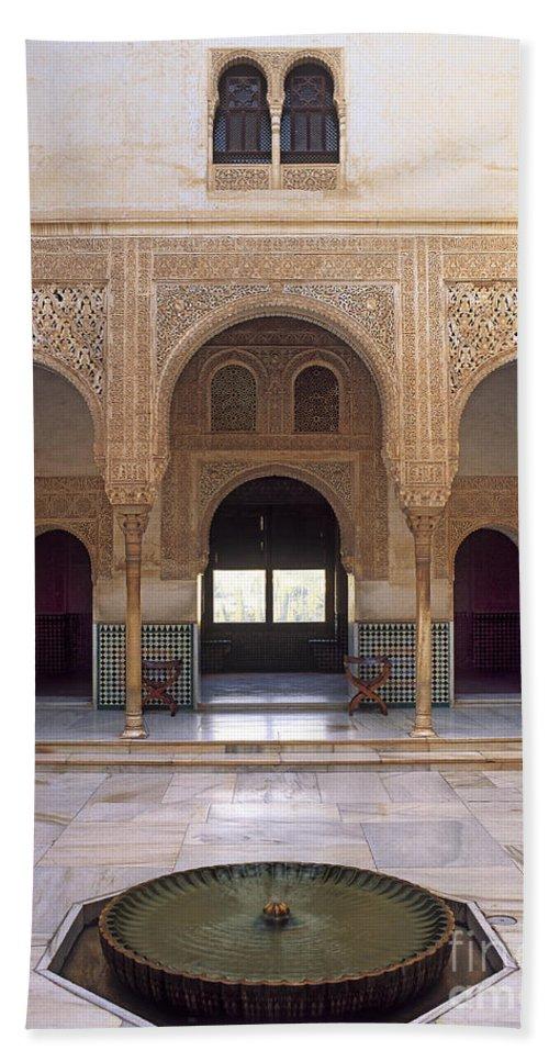 Bath Sheet featuring the photograph Alhambra Palace Patio Del Cuarto Dorado by Guido Montanes Castillo